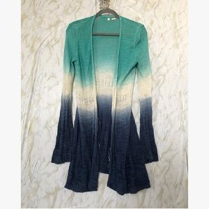 Anthro Moth small Cardigan tie dye blue knitted